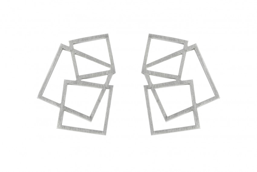 Scarlett Cohen French Square Disarray Studs Silver