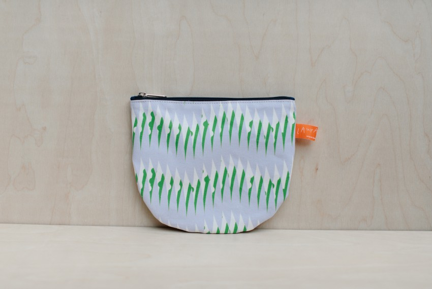 Laura Spring Peas Print Make Up Pouch Purple & Green