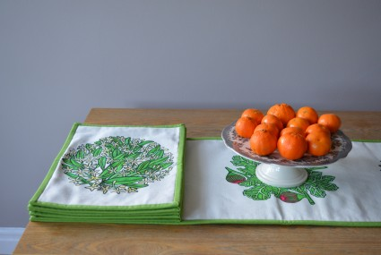 Little Axe Jasmine Textile Place Mat with Lombardia Textile Table Runner