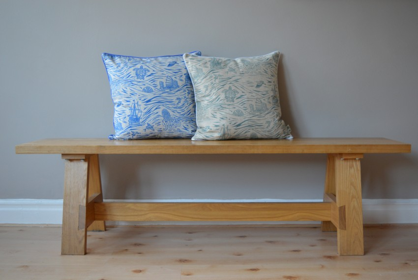Little Axe Spice Routes Cushion Cover Blue and Grey