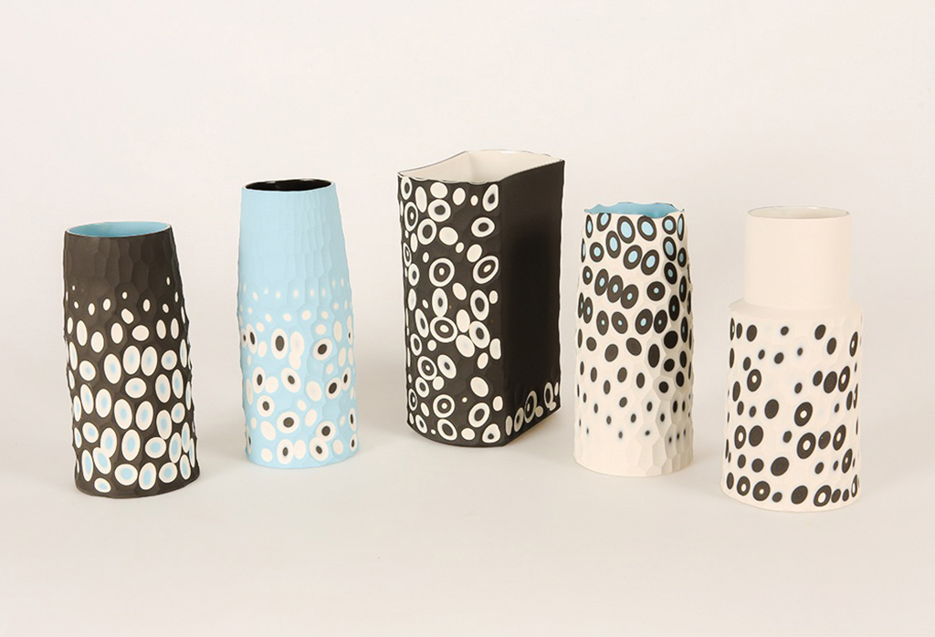 Battuto Multi-Layered Coloured Porcelain Vases
