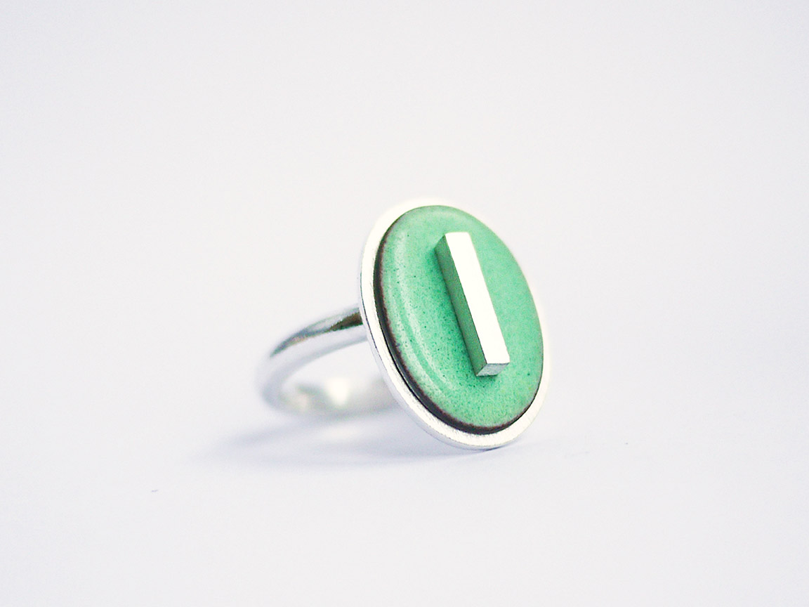 Oval Stamp Ring - duck egg green