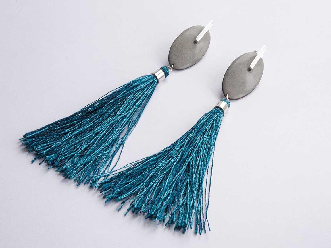 Tassel Earrings - grey and teal