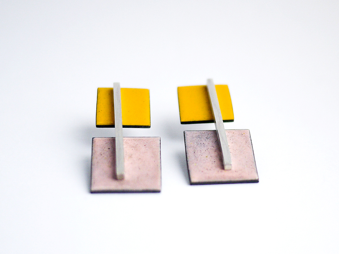 Double Square Earrings - yellow and pink